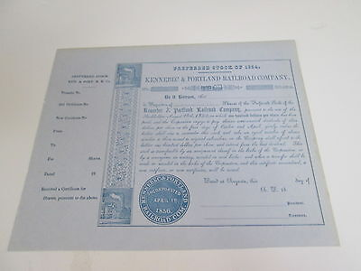 1800s KENNEBEC AND PORTLAND RAILROAD COMPANY STOCK CERTIFICATE UNISSUED
