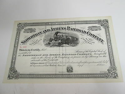 1880s SKOWHEGAN AND ATHENS RAILROAD COMPANY STOCK CERTIFICATE No. 323 UNISSUED