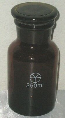 Glass amber lab reagent bottle wide mouth 250 ml 8 oz chemistry glassware New