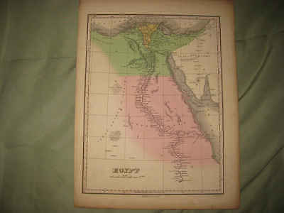 Superb Fine Important Antique 1824 Egypt Finley Handcolored Map Middle East Nr