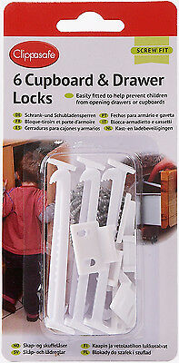 Clippasafe 6 x CUPBOARD LOCKS/LATCHES Child/Baby/Kids Proofing Home Safety BN