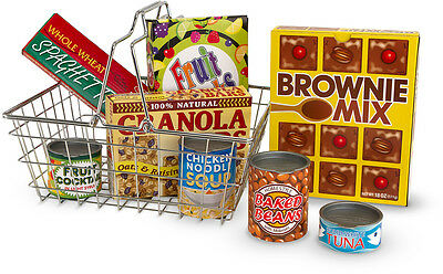 Melissa & Doug METAL SHOPPING BASKET WITH PLAY FOOD Toy/Gift Toddler/Child BN