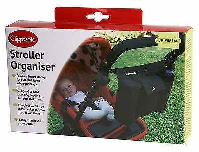 Clippasafe STROLLER ORGANISER Baby/Toddler Pushchair/Buggy Accessory Travel BN