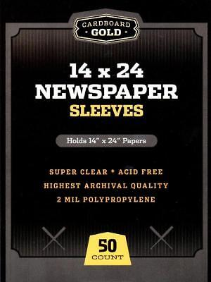 100 CBG 14 x 24 Newspaper Acid Free 2-Mil Clear Poly Sleeves 14x24