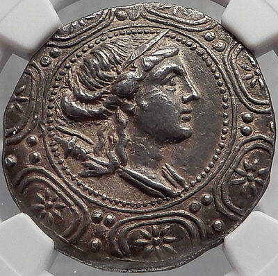 AMPHIPOLIS MACEDONIA 158 BC Authentic NGC Certified AU Silver Ancient Greek Coin