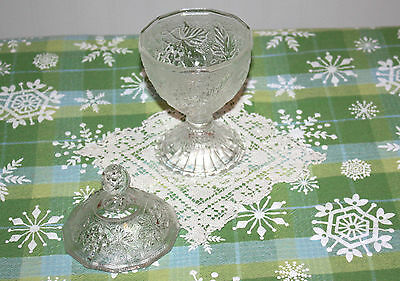 Pressed Glass Clear Pedestal Compote/Candy Dish with Lid  Grape Design