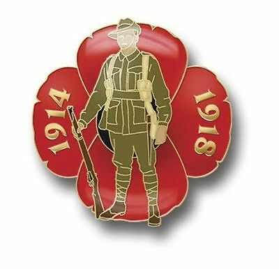 GREAT WAR DIGGER POPPY LAPEL PIN  - AUSTRALIAN REMEMBERANCE DAY NOV 11th