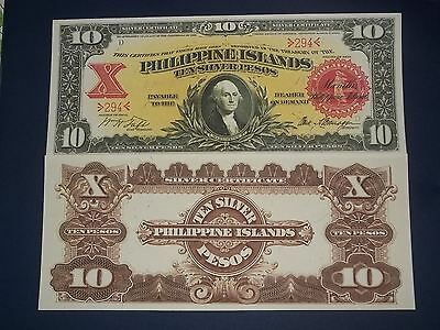 Unc 1903 Commonwealth Of The Philippines 10 Peso  Silver Certificate Copy
