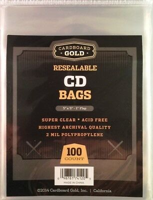Pack of 100 CBG Resealable Compact Disc CD Acid Free 2-Mil Clear Poly Bags