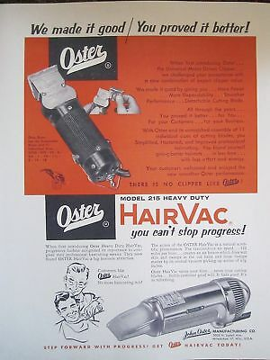 1953 Vintage Barbershop Oster Supplier Hair Vac Clippers Sign Ad
