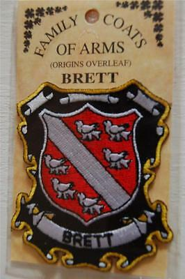 Brett Embroidered PATCH Coat of Arms Family Crest - Sew or Iron On