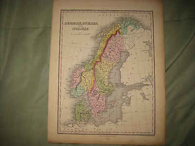 SUPERB GORGEOUS ANTIQUE 1824 DENMARK SWEDEN NORWAY FINLEY HANDOCLORED MAP RareNR