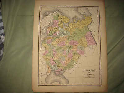 Superb Antique 1824 Russia In Europe Finley Handoclored Map Crimea Don Cossacks
