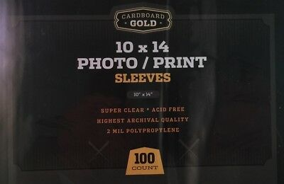 Pack / 100 CBG 10 x 14 Acid Free Photo / Print Poly Sleeves 10x14 covers holders