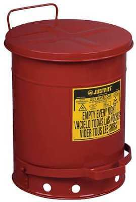 JUSTRITE 09300 Oily Waste Can, 10 Gal., Steel, Red