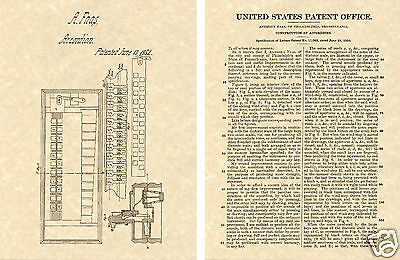 1st ACCORDION US PATENT Art Print 1854 Faas READY TO FRAME!! First Accordian