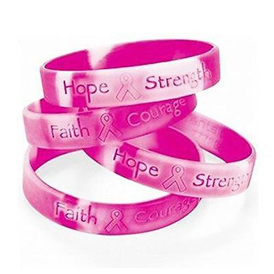 Lot Of 48 Pink Ribbon Camo ~ Breast Cancer Awareness Bracelets New