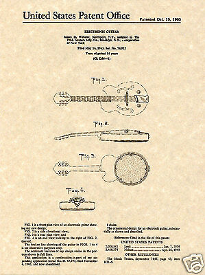 GRETSCH Guitar Patent Art Print READY TO FRAME!!!! Vintage 1963 Awesome Fred