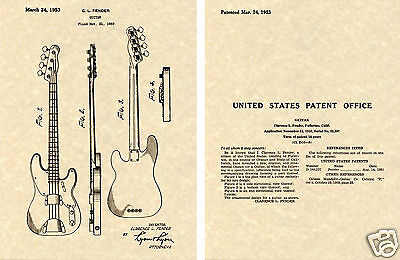 Fender PBASS Patent Art Print READY TO FRAME!!!! 1953 Clarence Precision Bass