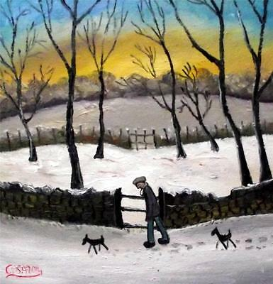 "Two Dogs Walking   Original 14"" X 14""  Northern Art Oil Painting by COSA"