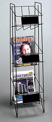 For Sale Three Shelf Magazine or Lierature Display Rack w/ Sign Plate (Black)