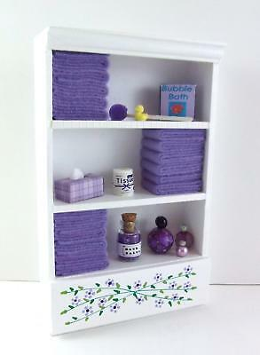 Dolls House Miniature Bathroom Furniture Shelf Unit Lilac Towels & Accessories