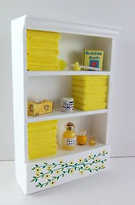 Dolls House Miniature Bathroom Furniture Shelf Unit Lemon Towels & Accessories