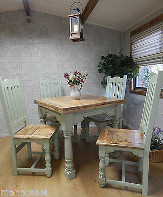 Rustic Oak Finish Painted Extending Country Farmhouse Kitchen Dining Table F&B