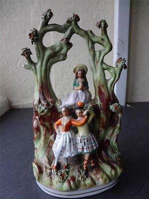 Staffordshire Flatback Bower Group Figure of Girls Dancing 8""
