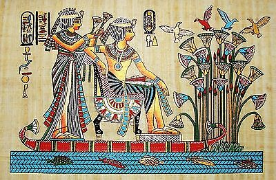 Egyptian Handpainted Papyrus: King Tutunkhamun & Queen on Papyrus Boat IMPORTED