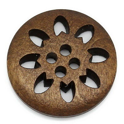 25PCs Wooden Buttons Sewing Snowflake Carved Hollow 4 Holes Brown 25mm