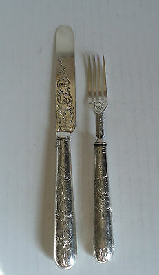 Antique English Sterling 2-Pc. Youth Knife & Fork Brite Cut Engraved Decoration