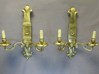 French Pair of Bronze Wall Sconces - 8966