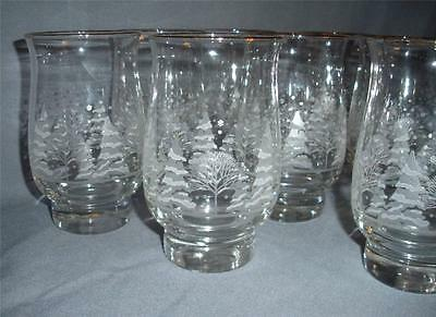 8 WHITE SNOW TREES TUMBLERS LIBBEY GLASS CRYSTAL CHRISTMAS VINTAGE WINTER GOBLET