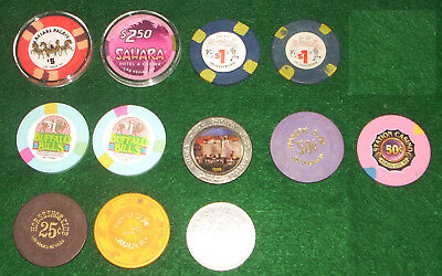 11 Casino Chip Lot 25 50 Cents $1 $2.50 $5 Las Vegas Laughlin Jean Kansas City