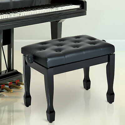 Classic Digital Keyboard Piano Bench Padded Seat Stool Solid Wood Adjustable