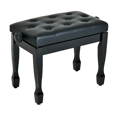 Homcom Faux Leather Piano Stool Height Adjustable Seat Keyboard Bench Black