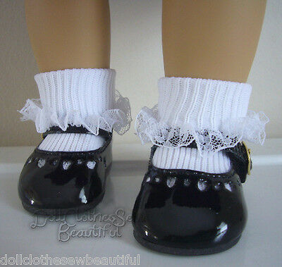 """Black Patent Dress Shoes & Lace Trim Socks for 18"""" American Girl Doll Clothes"""