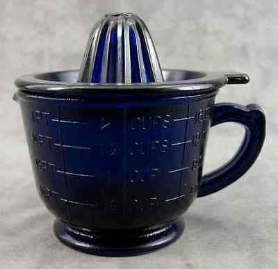 Cobalt Blue Glass 2-Cup Measuring Mixing Cup & Juicer Juice Reamer Set