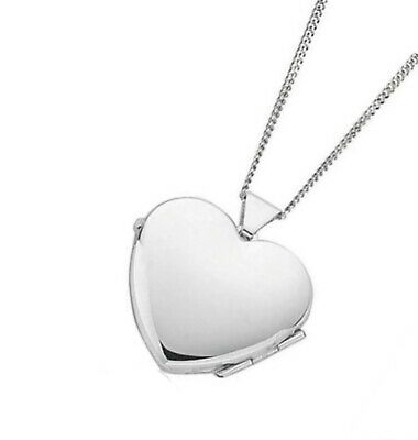 """Sterling Silver 18mm HEART Locket Pendant for Photo & 16"""" 18"""" 20"""" Curb Chain"""