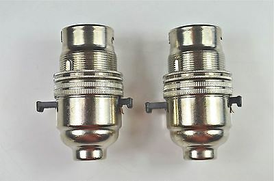 2 Switch Nickel Bayonet Fitting Lamp Bulb Holder Lamp Holder Shade Ring 10Mm L10
