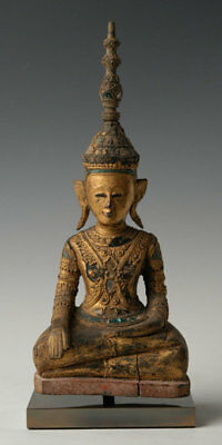18th Century, Antique Laos Wooden Seated King Buddha