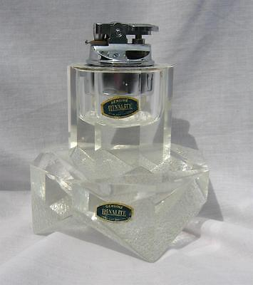 Art Deco Style Hand Cut Crystal Cigarette Cigar Table Lighter Set Sculpture Old