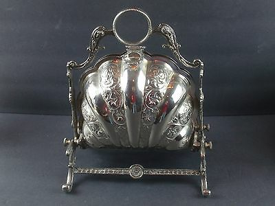 Antique VICTORIAN Silver Plated Scalloped Shell Hinged Biscuit Box