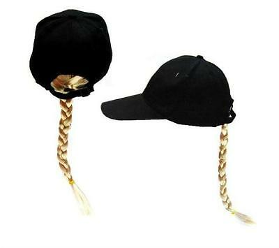 fcdc42e97f435 NOVELTY BASEBALL HAT WITH LONG BLONDE BRAIDED PONYTAIL HAIR costume dressup