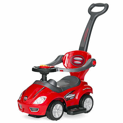 BCP 3-in-1 Kids Push Car Stroller-Ride On w/ Horn, Music, Handle, Storage - Red