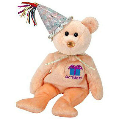 TY Beanie Baby - OCTOBER the Teddy Birthday Bear (w/ hat) (9.5 inch) - MWMT's