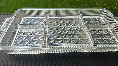"""FOSTORIA AMERICAN # 2056 Crystal Clear 5 Part Divided TRAY 14"""" X 7 3/4"""" X 1½"""""""