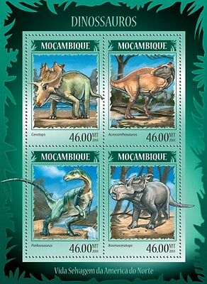 Mozambique Stam 2014 Dinosaurs 4 Stamps S/s