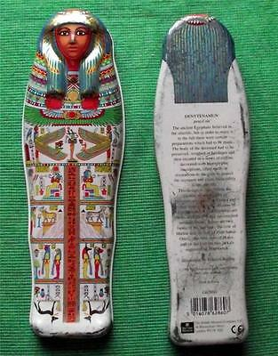 Vintage Egyptian Sarcophagus Tin Box British Museum Souvenir for Archaeologist E